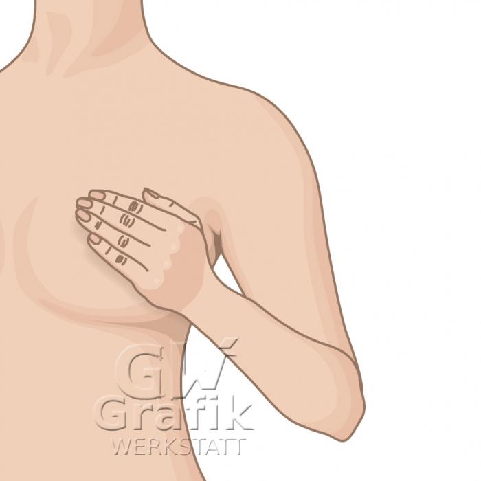 Oberkörper, Hand auf Brust (Frau)
